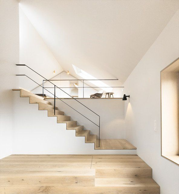Pale Floors And White Walls Staircase Design Interior Architecture Design Stairs Design
