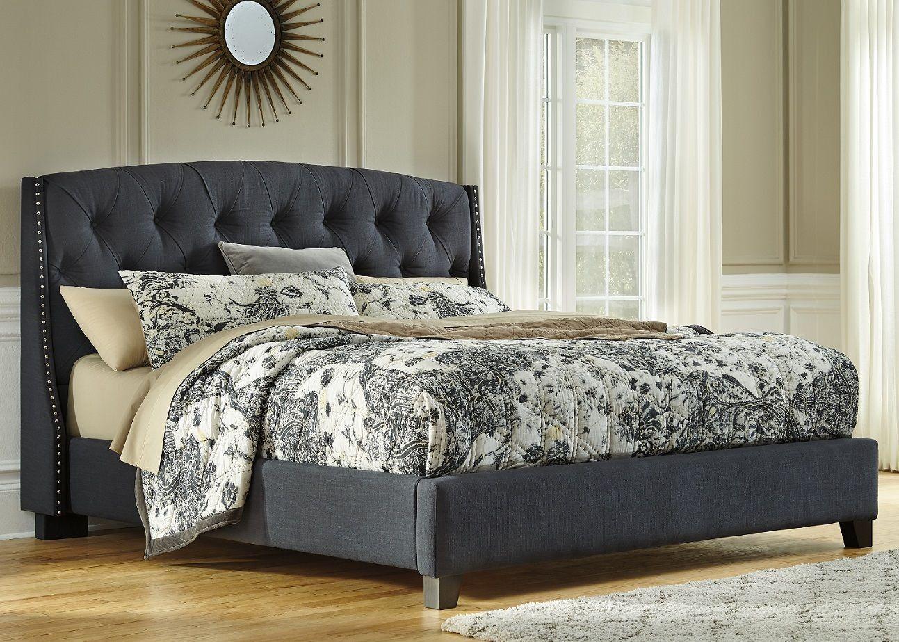 Kasidon King Bed At Underpriced Furniture Com King Upholstered Bed Grey Upholstered Bed