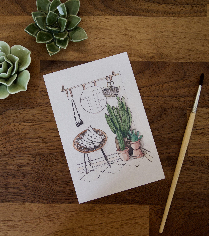 Carte Illustrée Cactus, Fauteuil Rotin, House, Design, Home, Hygge,  Illustration, Cosy, Love, Carte De Voeux, Birthday, Aquarelle