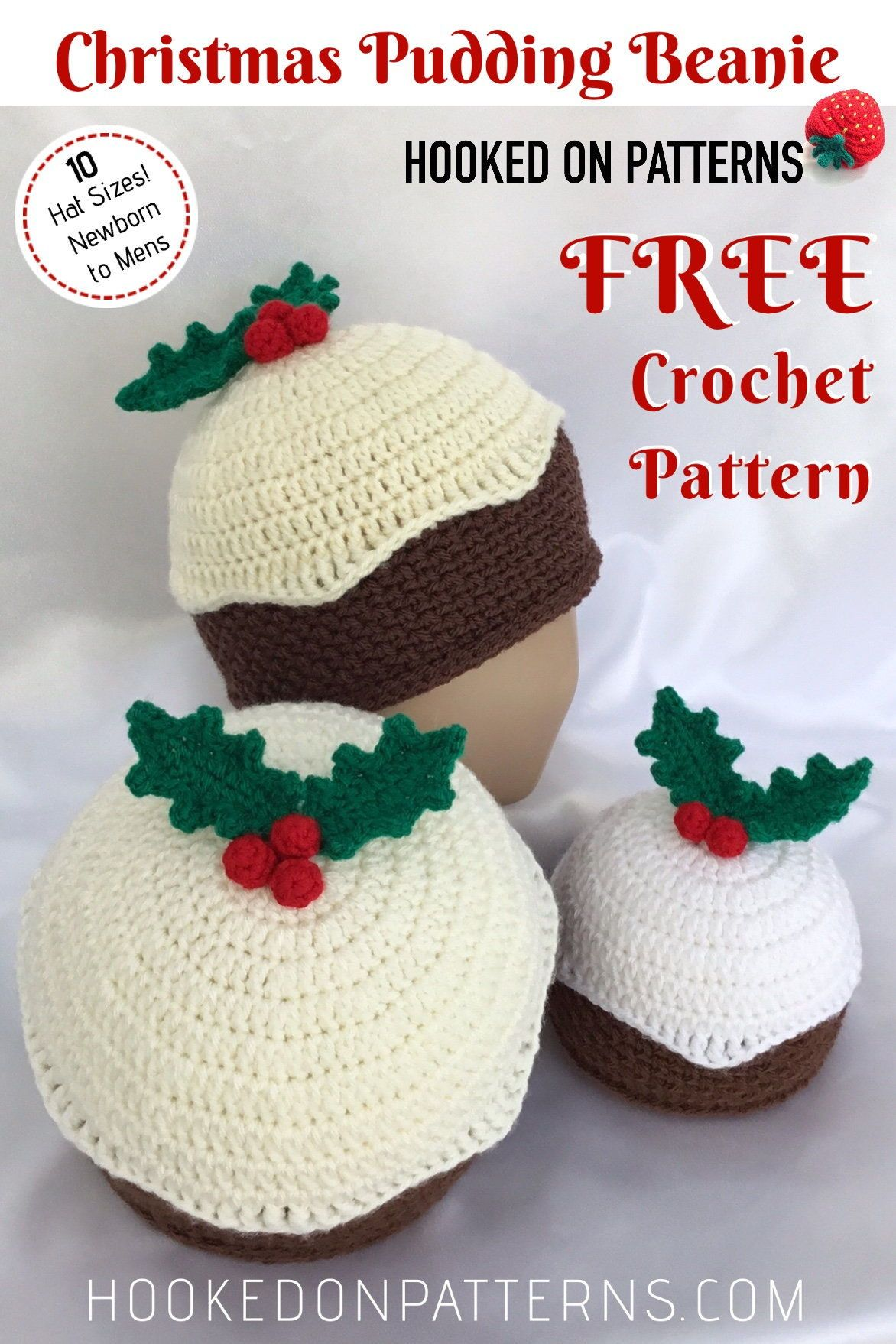 cc257e253ba035 Free Crochet Christmas Pudding Beanie Hat Pattern from Hooked On Patterns.  A fun novelty Xmas