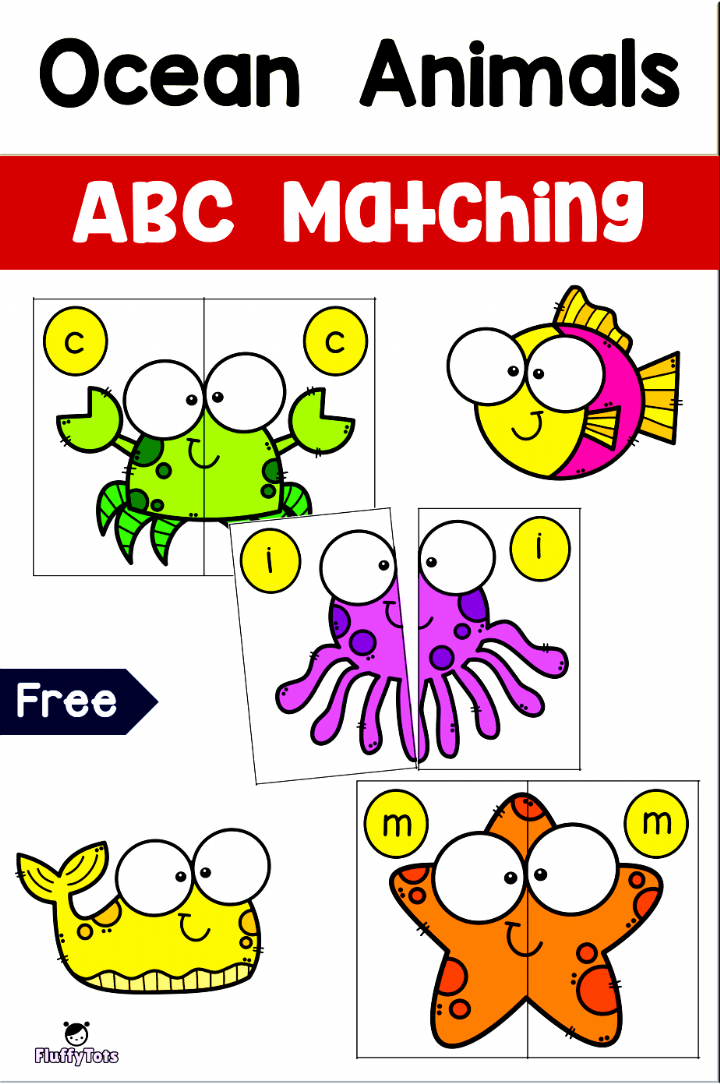 Free Ocean Animals Abc Matching Learn To Recognize Abc Letters In A Fun Way Let In 2020 Ocean Activities Preschool Ocean Theme Preschool Ocean Animals Preschool