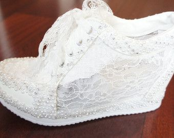 Wedding Shoes Sneakers White Wedge Lace High by WeddingShoeHeaven ...