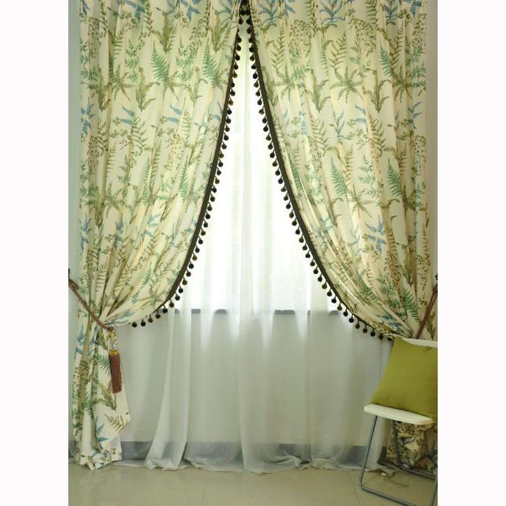 Beige Cotton And Linen Green Leaf Window Country Curtains