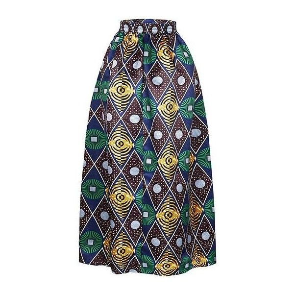 Rotita Printed Green High Waist Maxi Skirt ($35) ❤ liked on ...