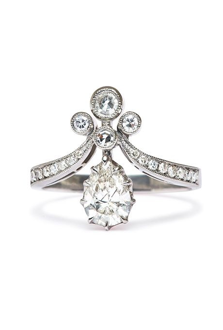 Diana 11N19W100G Vintage inspired engagement rings Floral