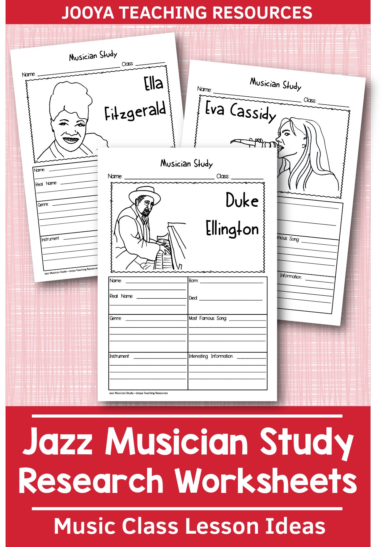 Jazz Musician Worksheets In