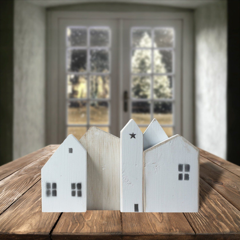 White Wooden houses, Farmhouse Decor, Christmas Village
