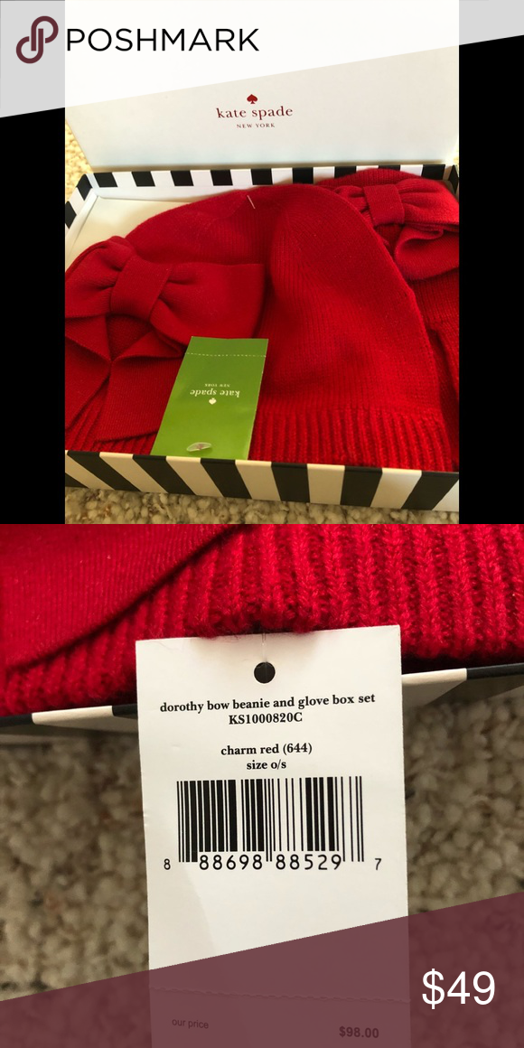 7ee193a38adac Kate Spade Hat and Glove set Dorothy Bow Beanie and Glove Boxed Set.  Beautiful Charm Red kate spade Accessories