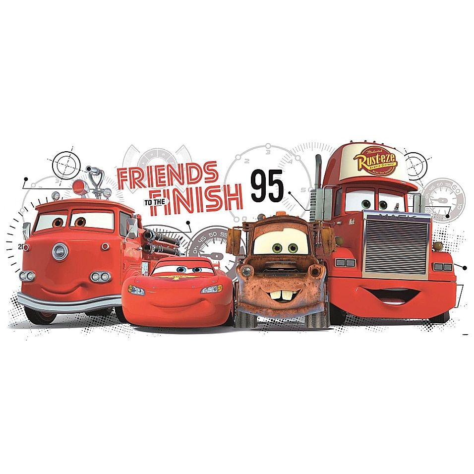 Roommates Disney Pixar Cars 2 Friends To The Finish Peel And Stick Wall Decals Multi Disney Wall Decals Lightning Mcqueen Bedroom Pixar Cars [ 956 x 956 Pixel ]