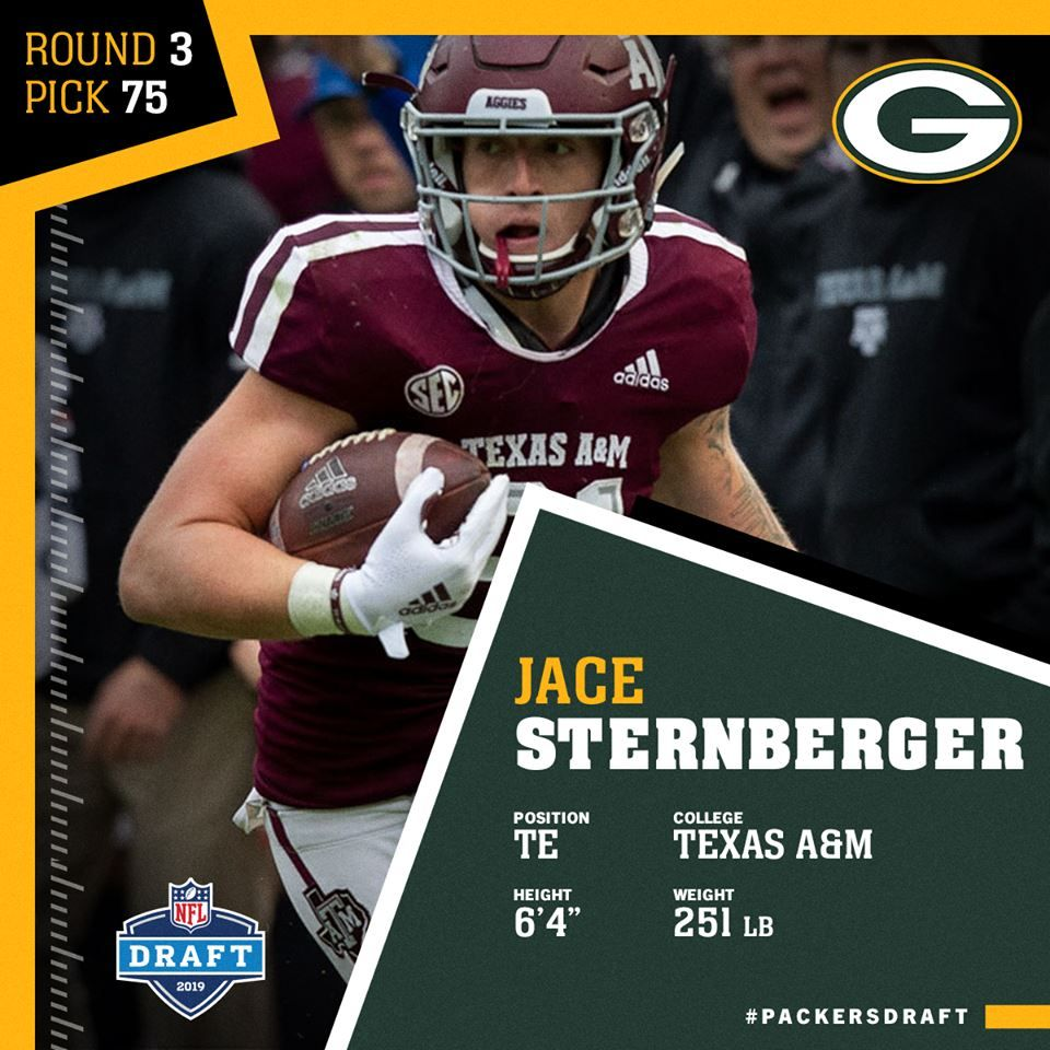 Quick Pick Packers Select Te Jace Sternberger With Third Round Pick Green Bay Packers Fans Packers Nfl Sports