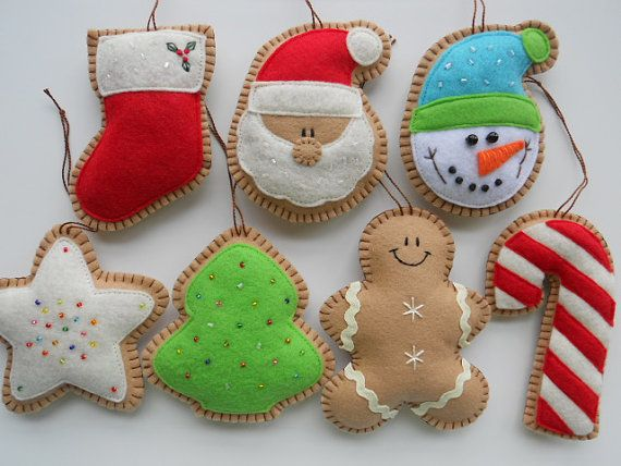 Jumbo Felt Christmas Cookies  - Felt Cookie Christmas Ornament - Christmas Cookie Decorations