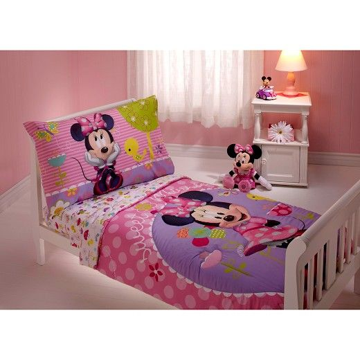 Minnie Mouse Toddler 4 Piece Bed Set Multicolor Toddler Bed Set