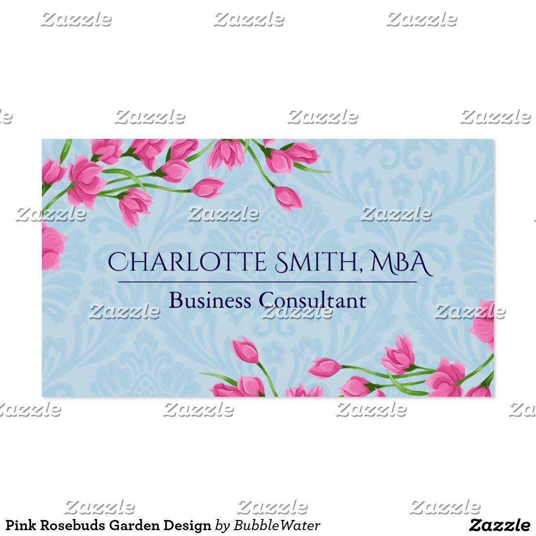 Pink Rosebuds Garden Design Business Card | Business cards, Business ...