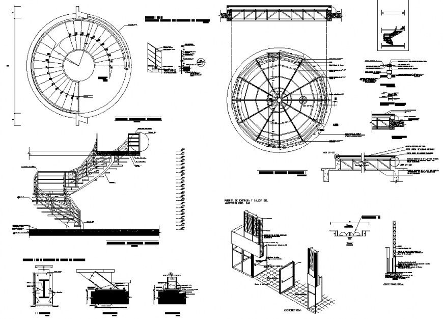 Spiral Stair And Main Gate Entry Isometric Detail Dwg File Spiral Stairs Stair Plan Spiral Staircase Plan