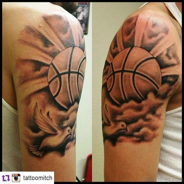 67 Superb Basketball Tattoos On Shoulder Basketball Tattoos