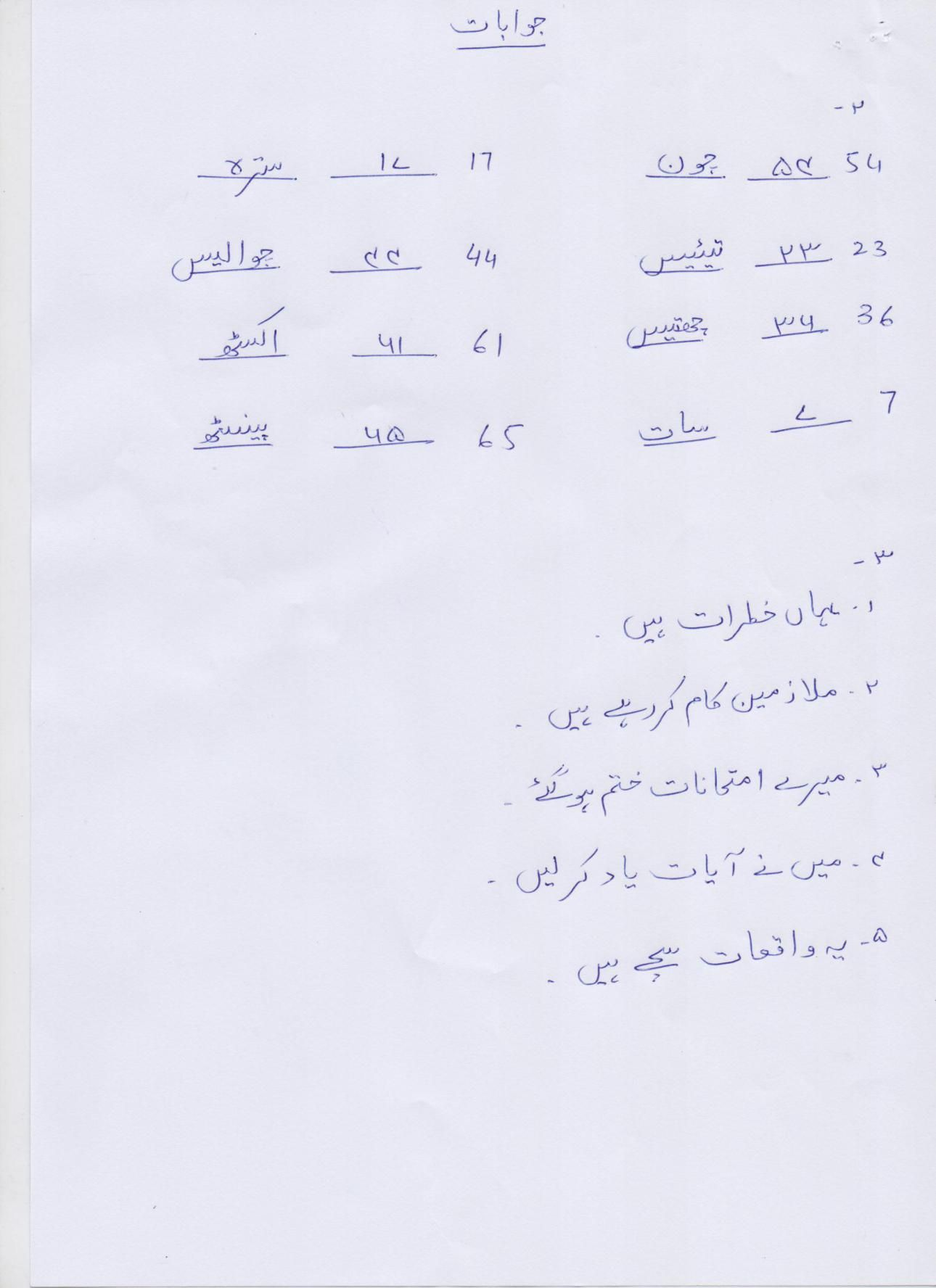 Urdu Blog Worksheet Class 4 Answer Key