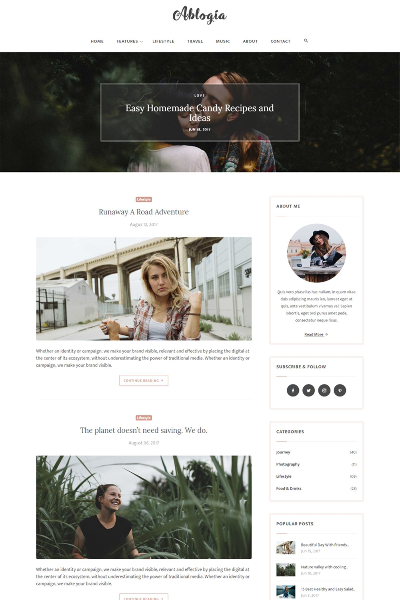 Abloga Html5 Blog Website Template 65325 Blog Website Template Personal Blog Website Blog Themes Wordpress