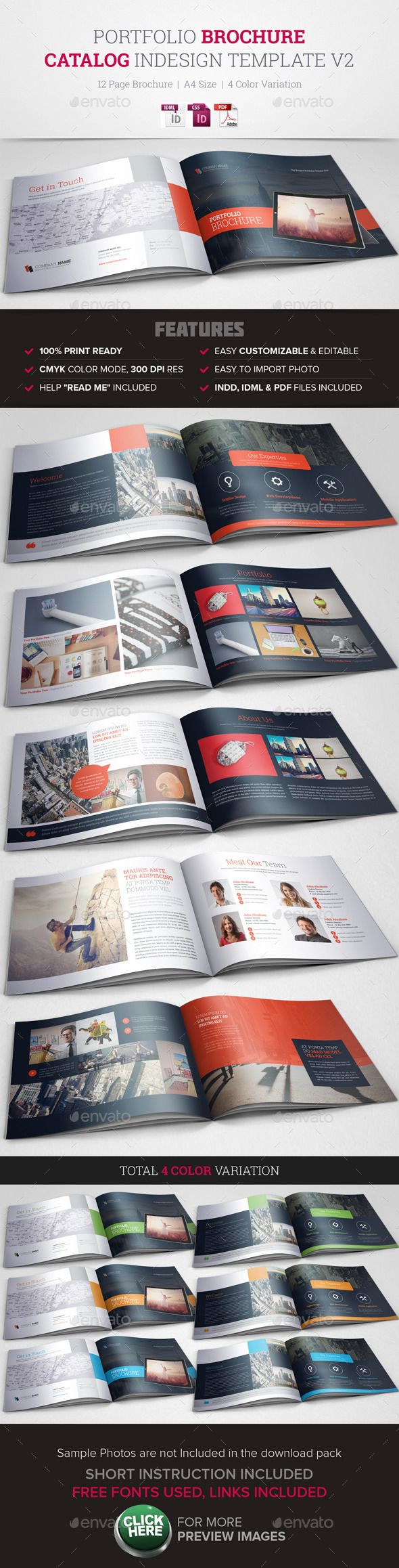 Portfolio Brochure InDesign Template v2 | Annual Reports | Pinterest ...