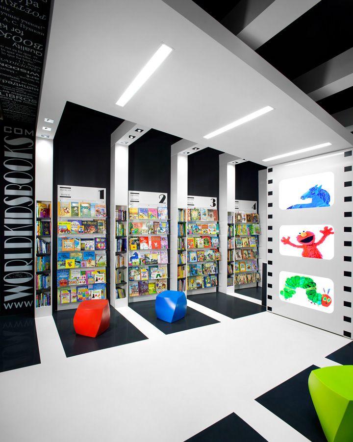 Interior colorido de una tienda de libros para niños, los colores - libreria diseo