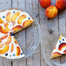 Blueberry Peach Yogurt Pie with whole-wheat crust. The healthiest pie you will eat this summer.