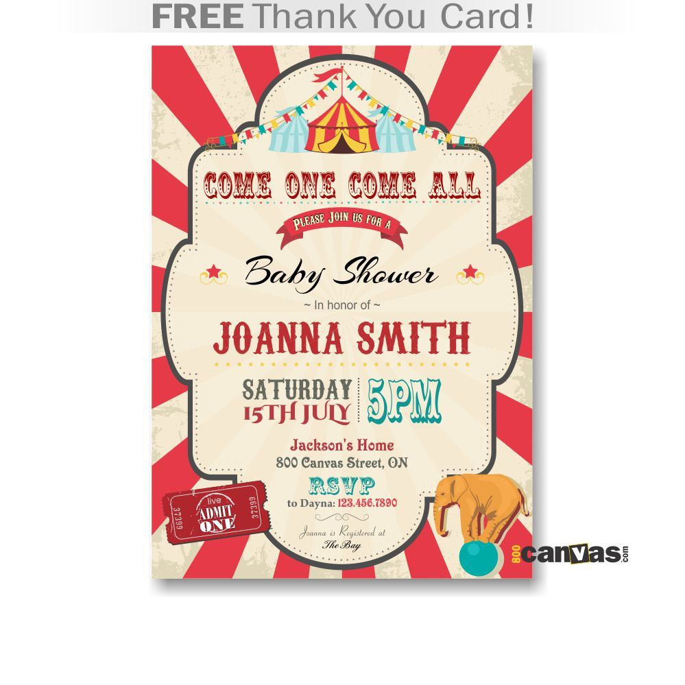 Circus Baby Shower Invitation Printable Babyshower Theme Carnival Elephant Digital Diy 49 By 800canvas On