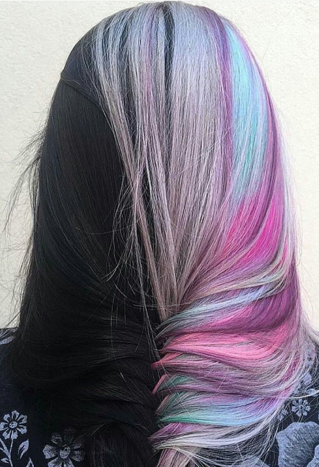 Half dyed fishtail braided hair color inspiration idea pastel