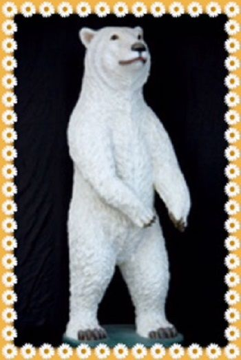 Large Life Size Polar Bear Prop Display Is Handcrafted From Resin And Stands On Wooden Base Like Statue Measures Rox 33 L X 32 W 87 H