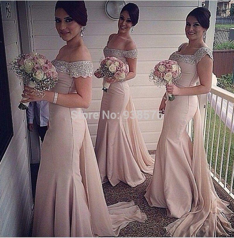 Custom Elegant Pink Mermaid Long Goddess Bridesmaid Dresses With
