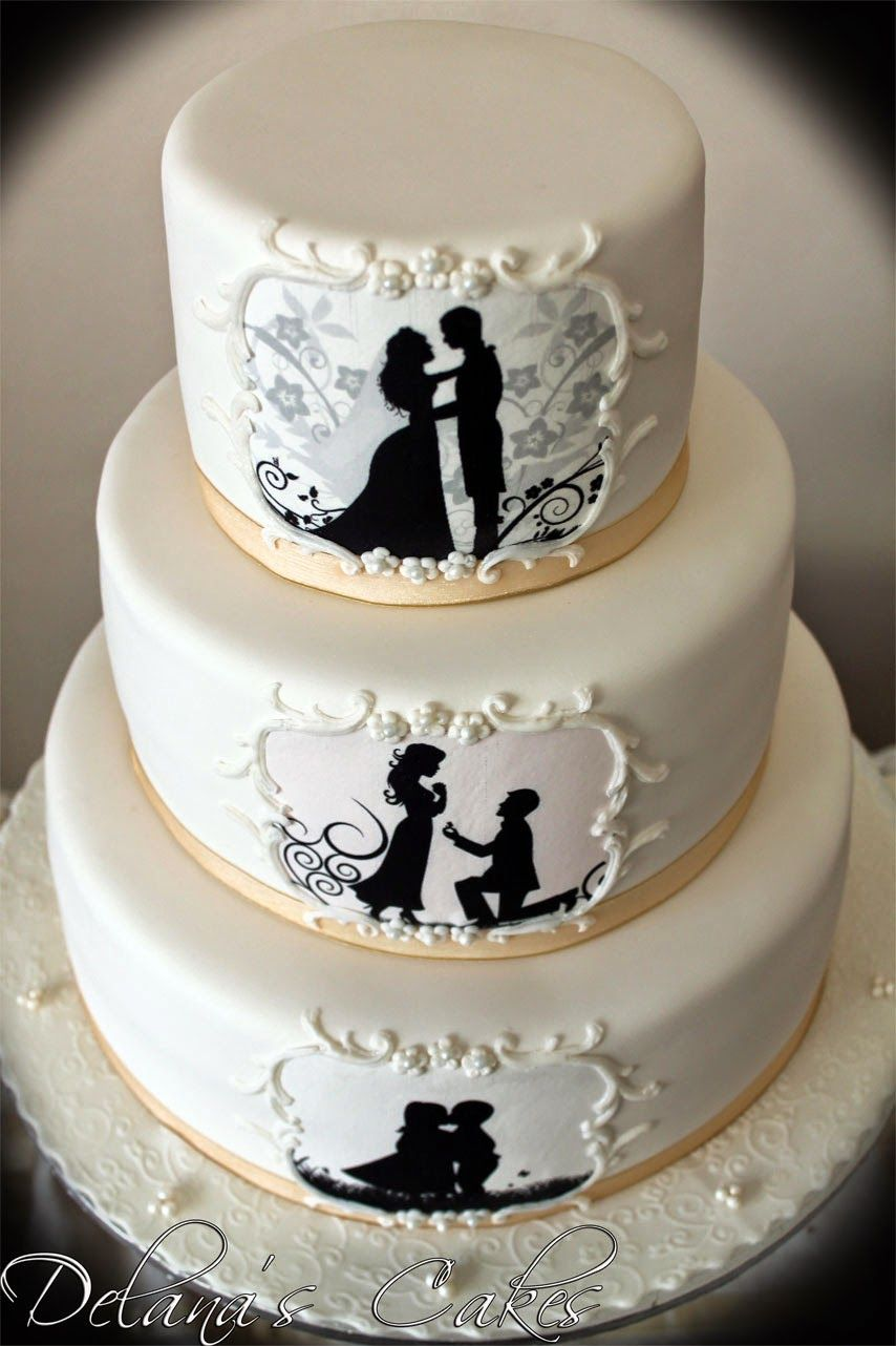 Love This Silhouette Wedding Cake Silhouette Cake