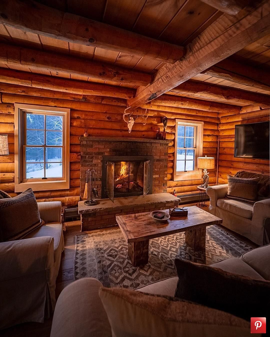 Warm cabin with a view of the snow Check out desigedecors.com to get more inspiration #interiordesign #cozyplace #rustic #homed