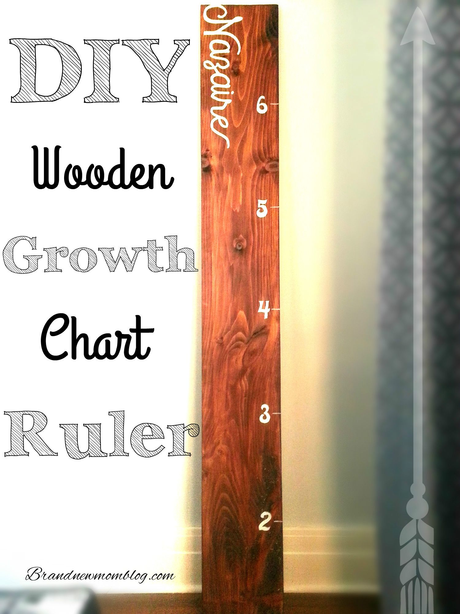 DIYWoodenGrowthChartRuler Wooden growth chart