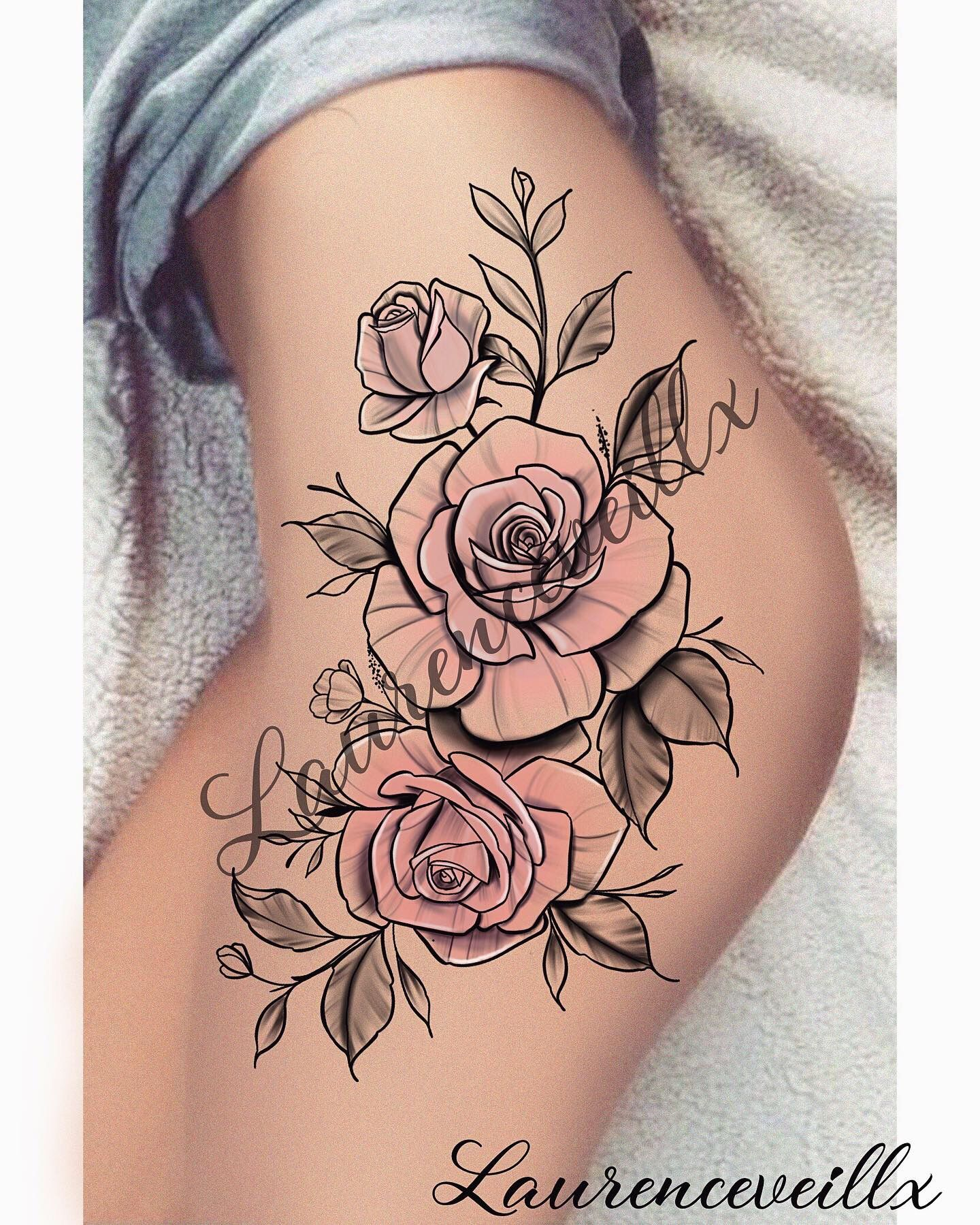 Rose Flower Tattoo Design Thight Women Ideas Laurenceveillx In 2020 Tattoos Tattoo Designs Jewelry Tattoo