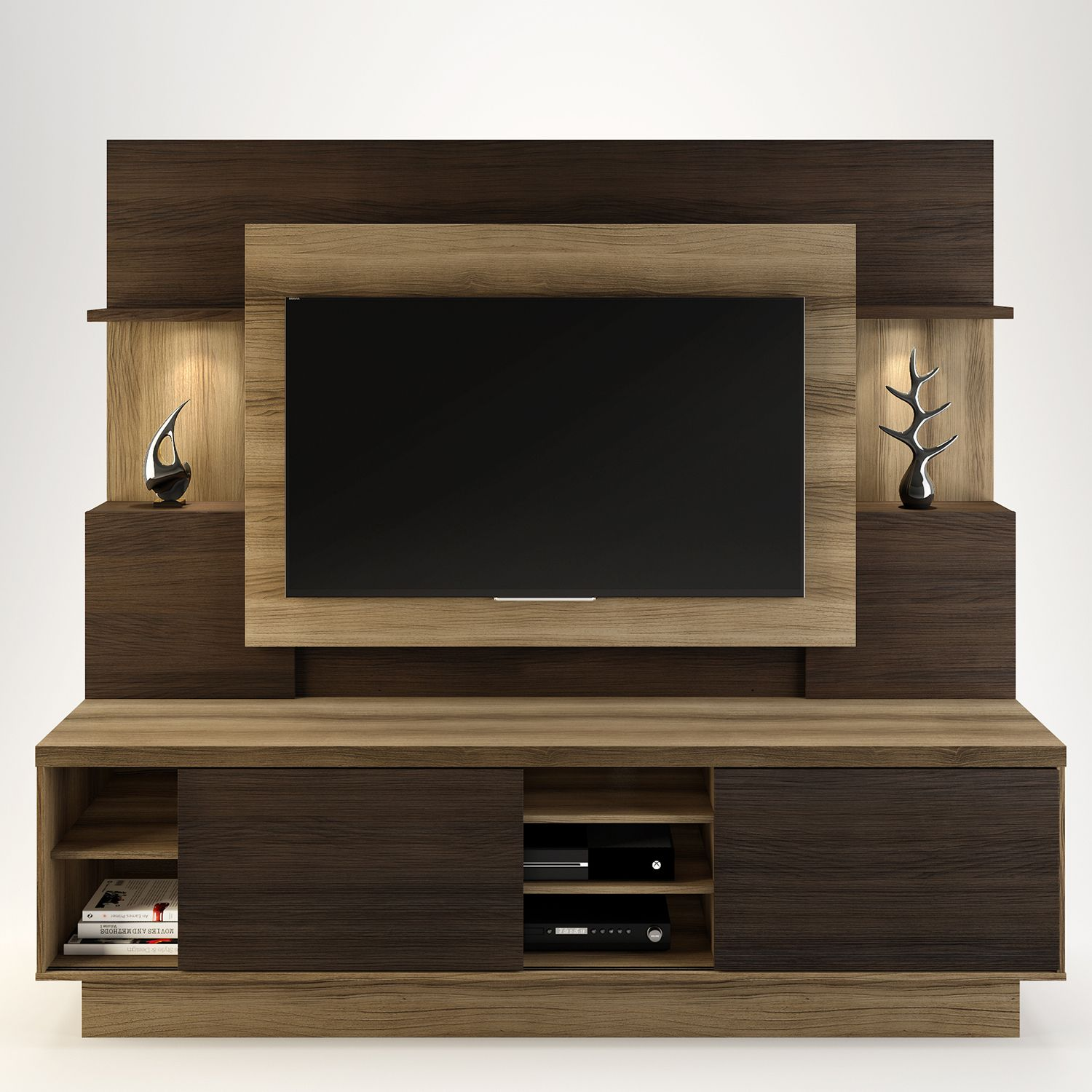 Estante para Home Theater Aron L nea Brasil Capuccino Wood bano