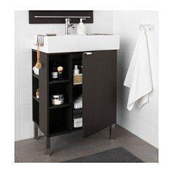 "LILLÅNGEN SinK cabinet/1 door/2 end units - stainless steel, black-brown, 23 5/8x16 1/8x36 1/4 "" - IKEA"