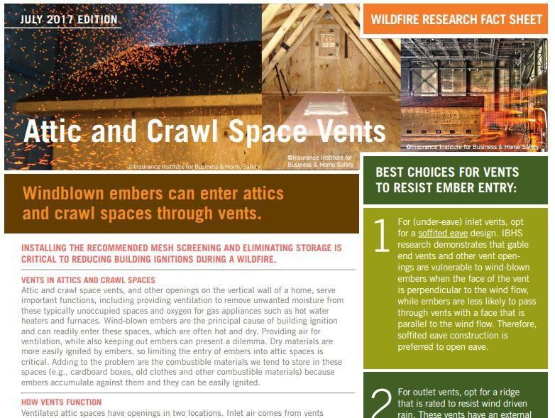 Reduce Ember Ignitions By Screening Attic And Crawl Spaces