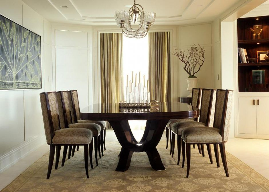Dining Room: Formal Dining Space Is Beautiful Also Traditional. modern dining room set. shiny wood dining table. patterned dining chair. damask rug. decorative branch. floral painting. bronze chandelier. neutral dining room.