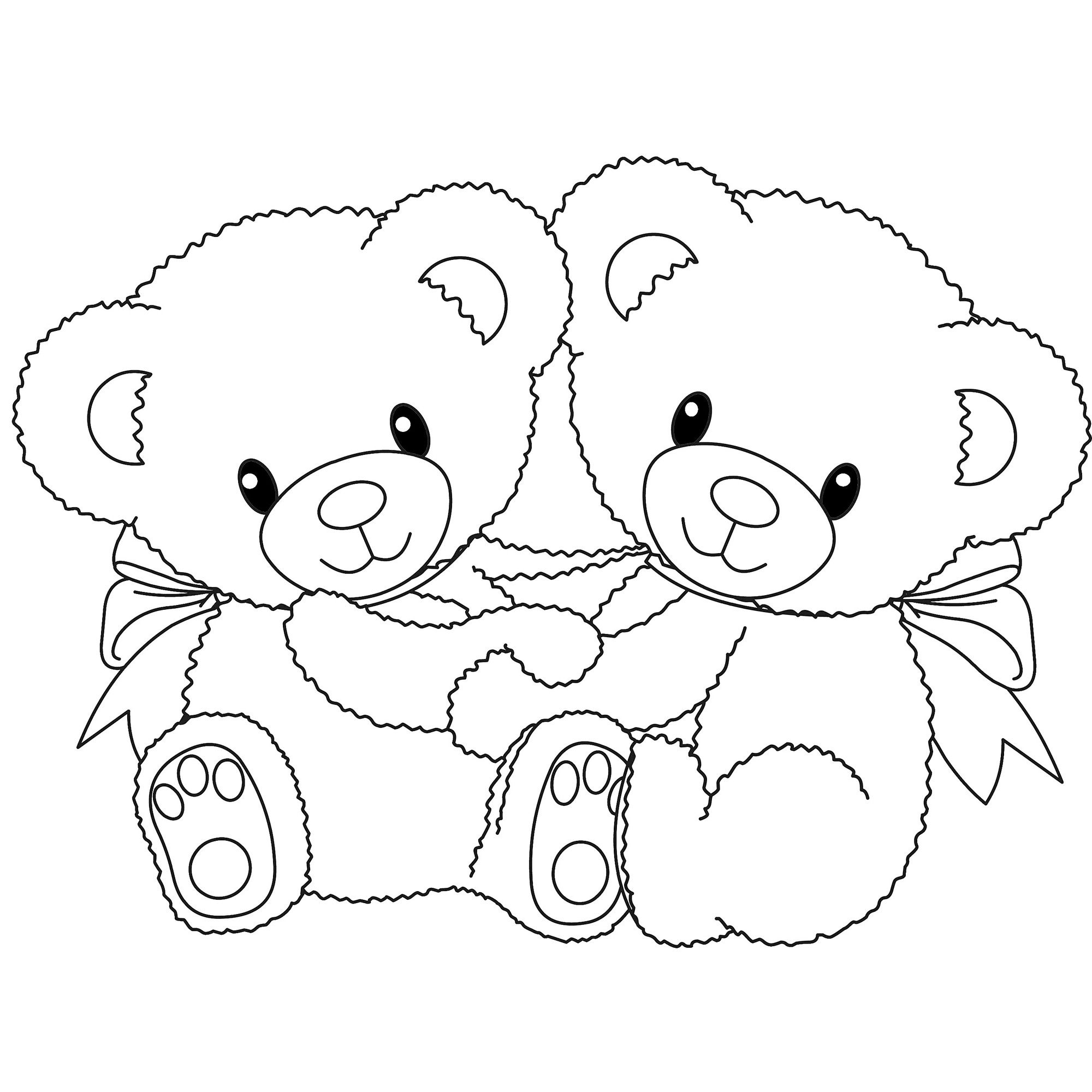 Polar animals coloring pages for kids - Teddy Bear With Couple Coloring Pages Online Printable