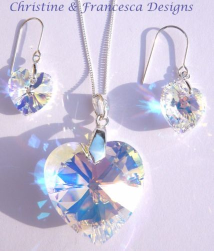 a93b6cd81 Larger size 28mm & 14mm wide crystals ♥ Beautiful multi colour effect  crystal ♥ .925 Sterling Silver NECKLACE & EARRING SET ~ CRYSTAL AB 28mm size  Crystal ...