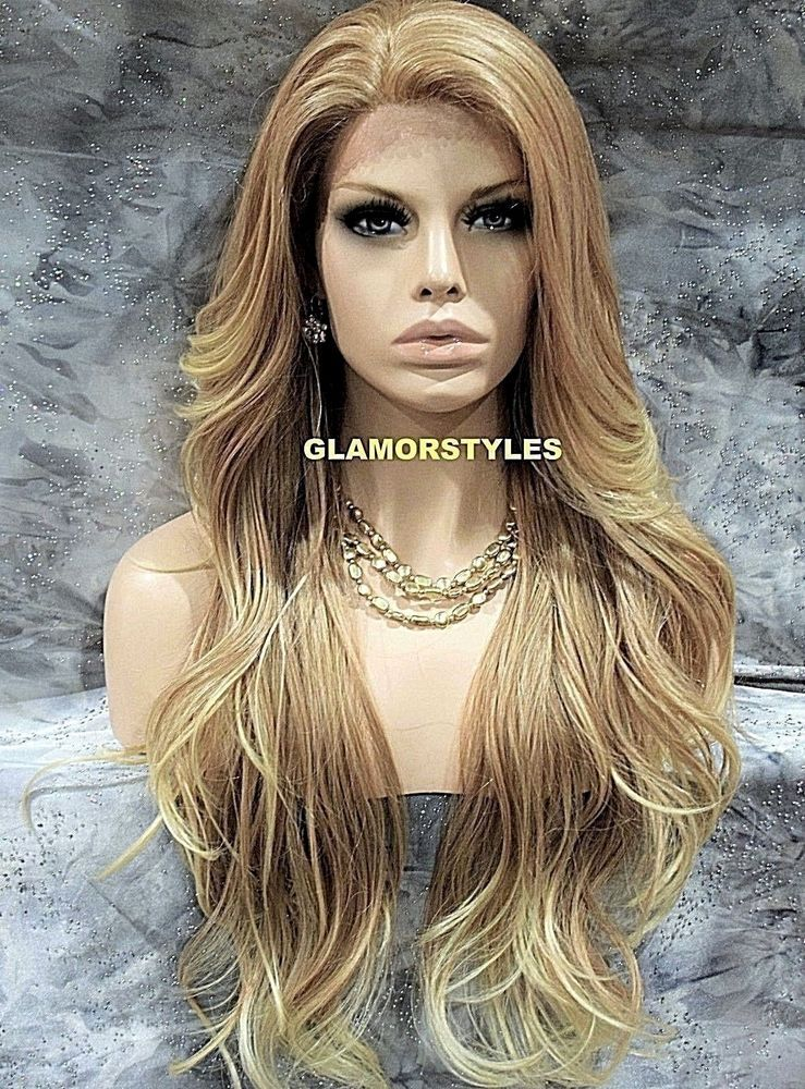 Long Layered Loose Wavy Medium Blonde Mix Lace Front Full