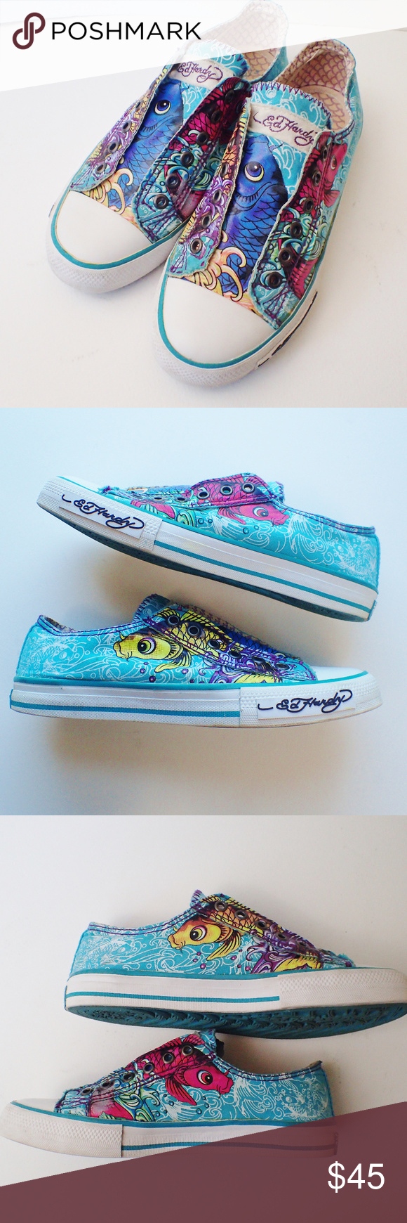 cf64e9c69d Ed Hardy Slip-On Coy Fish Sneakers Size 8 Beautiful pre-loved condition!