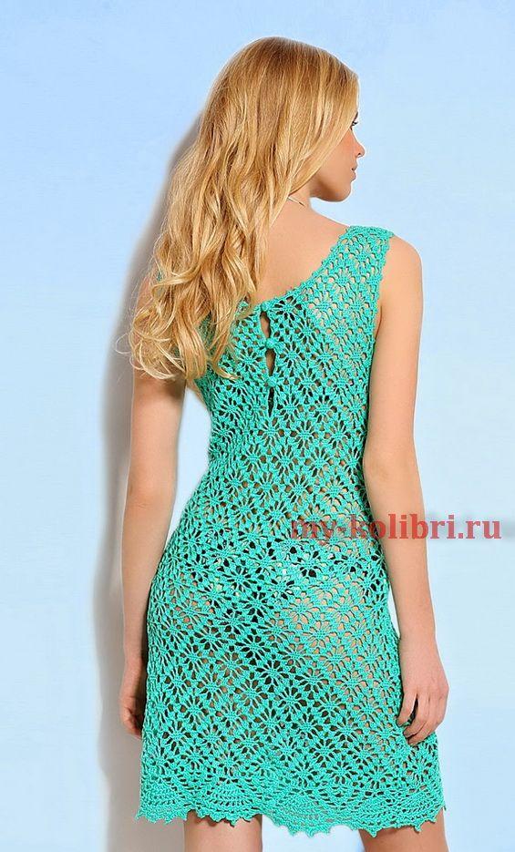 Пляжное платье крючком узором «Паучки» (подборка узоров и схем)