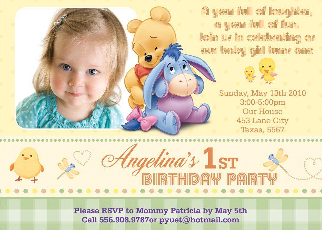 The Winnie the Pooh Birthday Invitations prepossessing layout ...