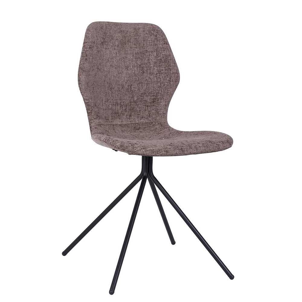 Retro Stuhl Set in Taupe Stoff Eisen (4er Set) Jetzt bestellen unter ...