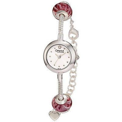 Caravelle By Bulova 43L140 Murano Pink Glass Charm Dress Women'S Watch