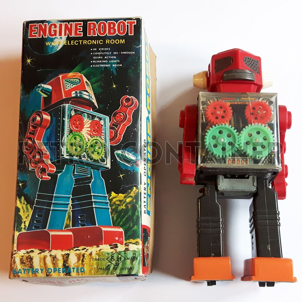 1960 toys images  Ultra Rare SH Horikawa Battery Operated Tin Engine Robot Made in