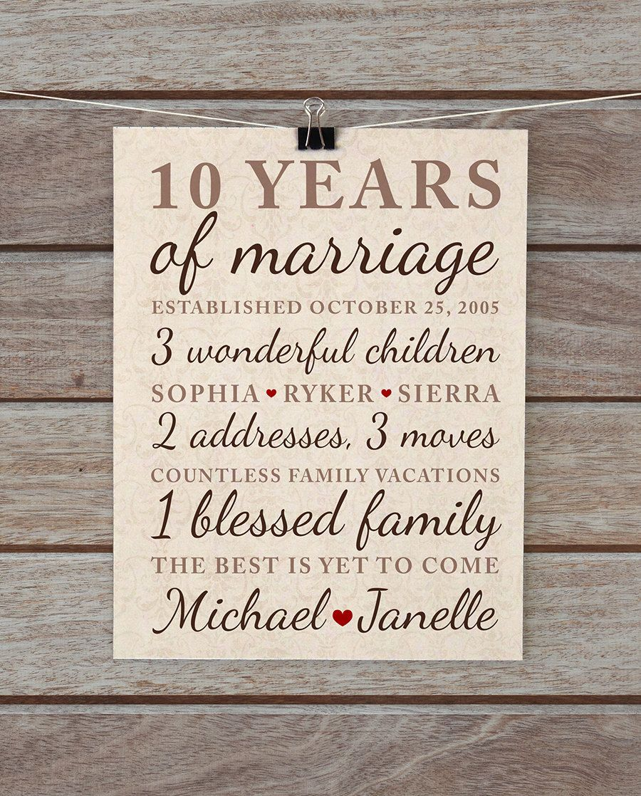 10 Year Anniversary Gift Wedding Anniversary Important Dates Family Marriage Art Vintage Damask Neutral Brown Tan Beige 10 Year Wedding Anniversary Gift 10th Anniversary Gifts 10 Year Anniversary Gift