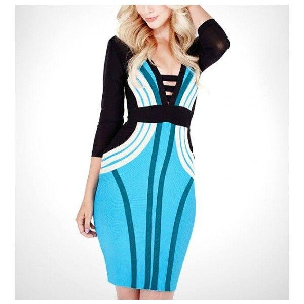 Deep Plunge Mesh Sleeve Bandage Dress (52 AUD) ❤ liked on Polyvore featuring dresses, mesh sleeve dress, plunge dress, mesh dresses, mesh bandage dress and sleeved dresses