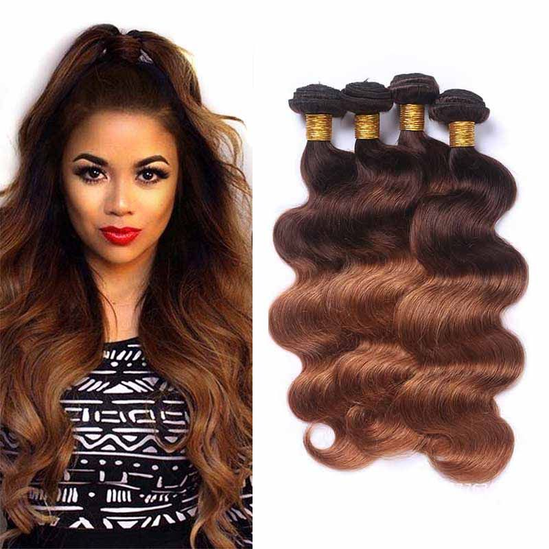 Ombre Brazilian Human Hair Extensions Two Tone 430 Dark Brown