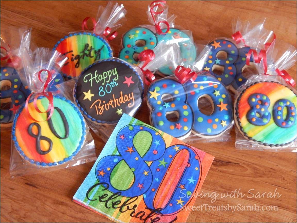80th Birthday Cookies Bright Birthday Cookies Sweet