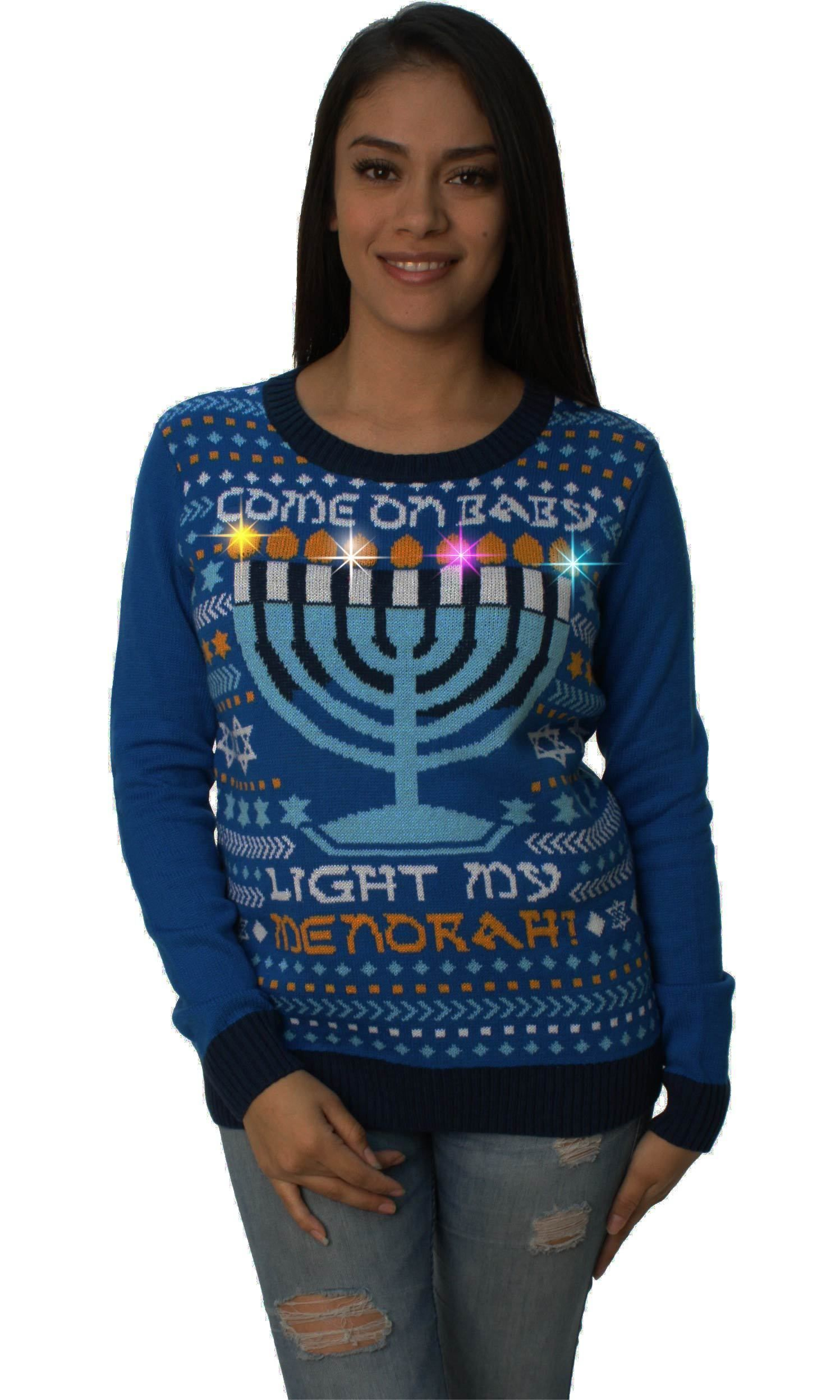 cda91d7192 Ugly Christmas Sweater Womens Come On Baby Light My Menorah LED Hanukkah  Sweater